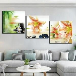 Tableau peinture galets et orchidées