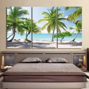 Tableau plage de sable blanc et palmiers