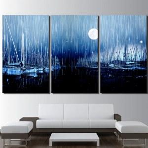 Tableau pluie sur le port un soir de pleine lune
