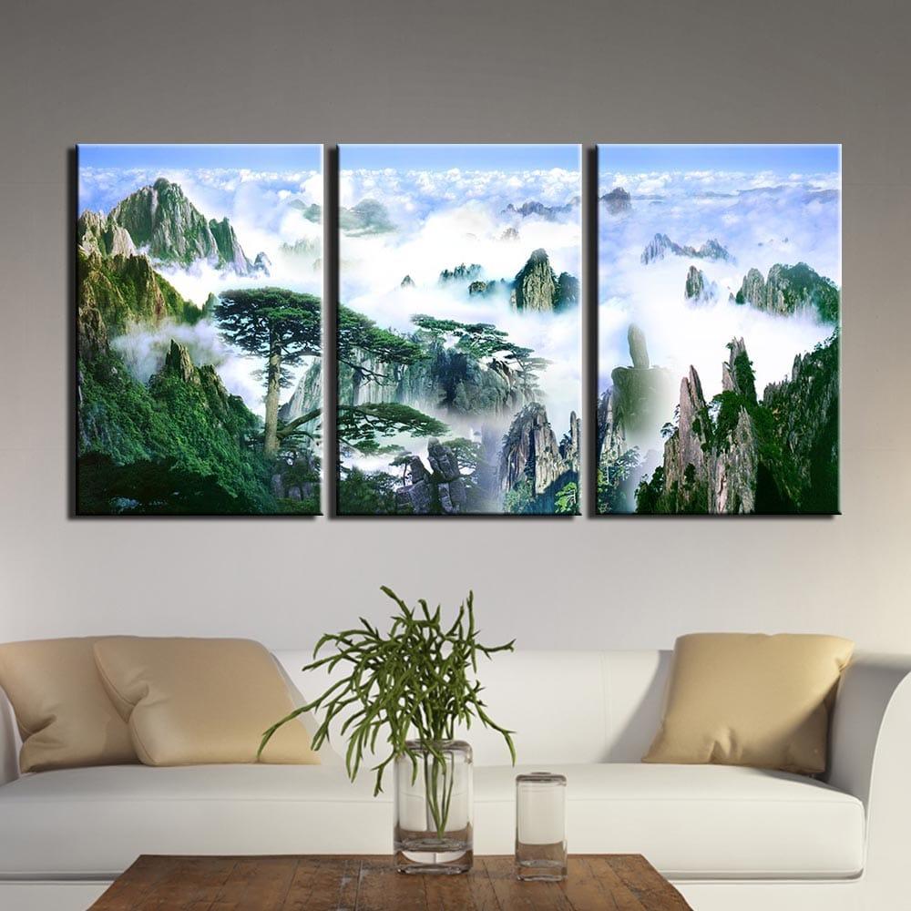 Tableau sommet des montagnes sous la brume