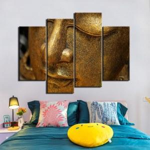 Tableau tête de Bouddha dorée