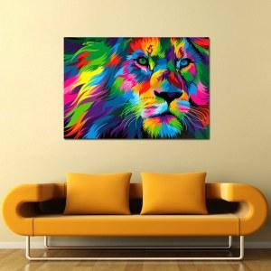 Tableau tête lion multicolore