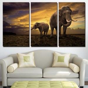 Tableau un éléphant et un éléphanteau au coucher du soleil