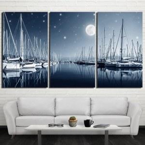 Tableau un port sous la pleine lune