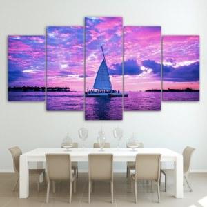 Tableau voilier sous ciel rose