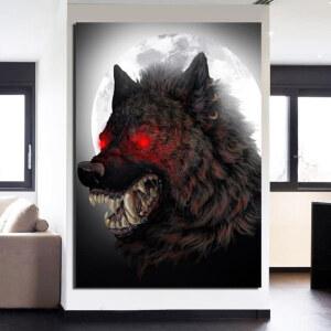 Tableau loup yeux rouges