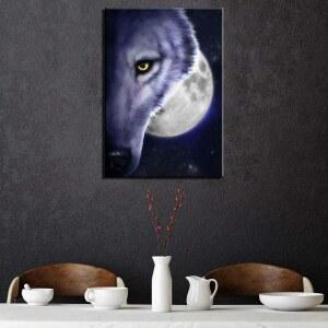 Tableau demi-tête de loup pleine lune Tableau Animaux Tableau Loup