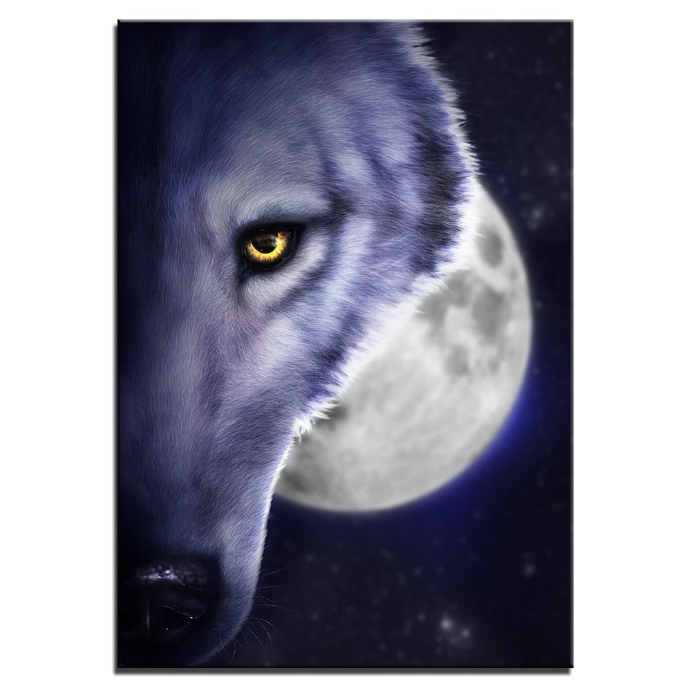 Tableau loup demi-tête pleine lune