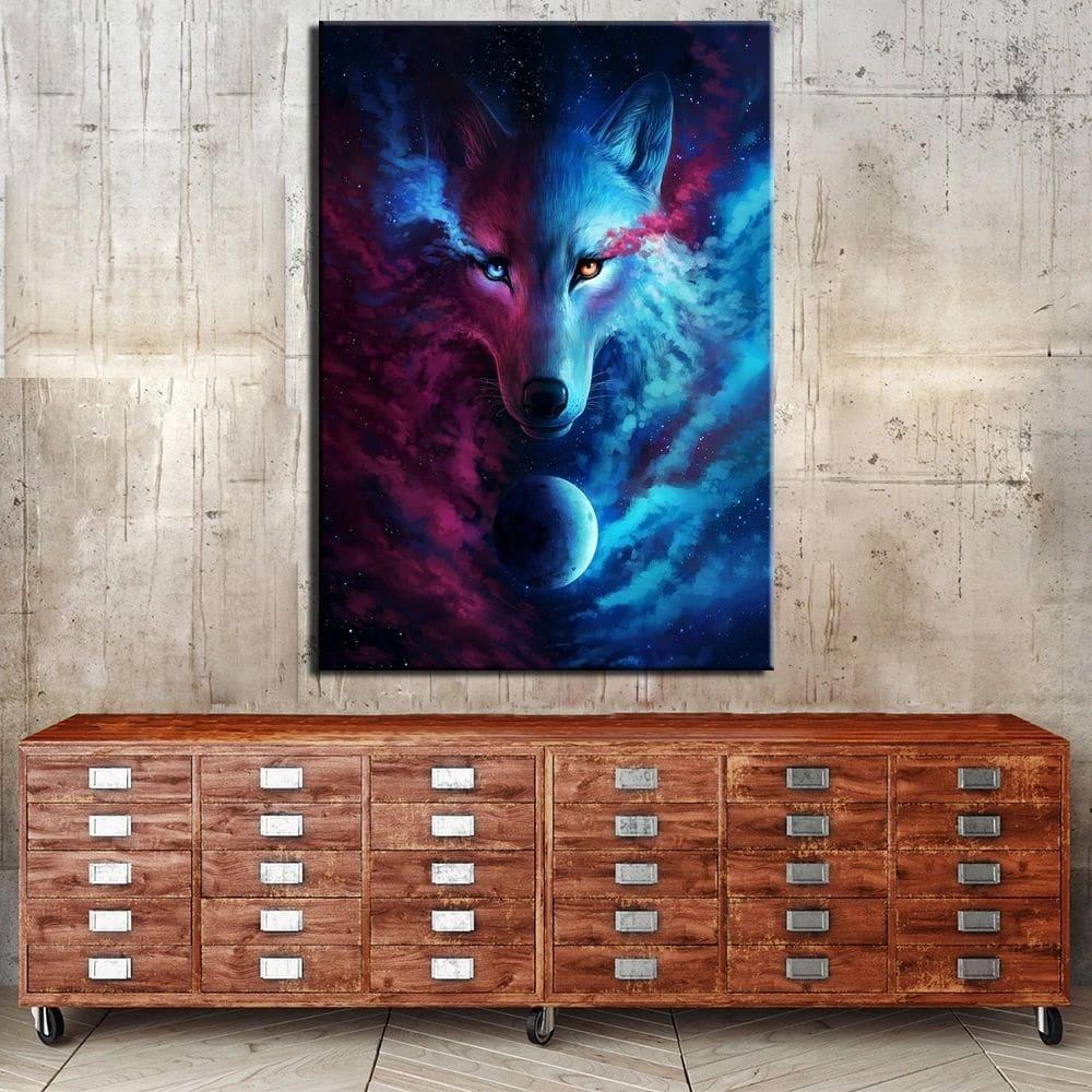Tableau loup pleine lune Yin Yang Tableau Animaux Tableau Loup