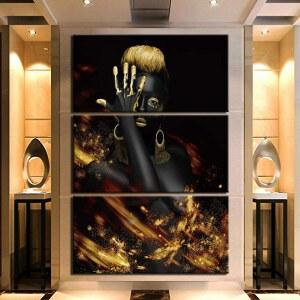 Tableau femme noir et or