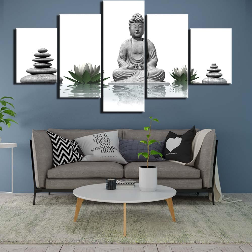 Tableau galets lotus et bouddha