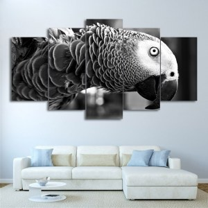 Tableau perroquet noir et blanc Tableau Animaux Tableau Oiseau