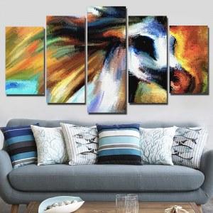 Artvoile 5 panneau toile art imprimer HD abstrait cheval impression peintures pour salon affiche encadré 2018 livraison directe NY-7654C