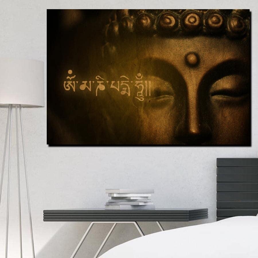 Tableau Bouddha et sanskrit Tableau Bouddha Tableau Zen