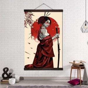 Tableau Geisha rouge