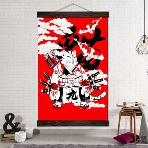 Tableau chat samouraï Tableau Japonais Tableau Monde