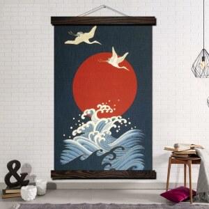 Tableau grue mer et soleil Tableau Japonais Tableau Monde