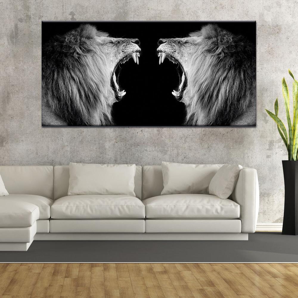 Tableau lions qui rugissent en noir et blanc Tableau Animaux Tableau Lion