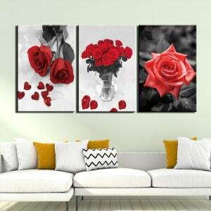 Tableau roses rouge en triptyque