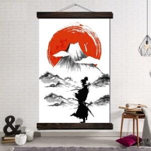 Tableau samouraï au pied de la montagne Tableau Japonais Tableau Monde