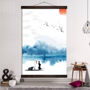 Tableau samouraï sur le lac Tableau Japonais Tableau Monde