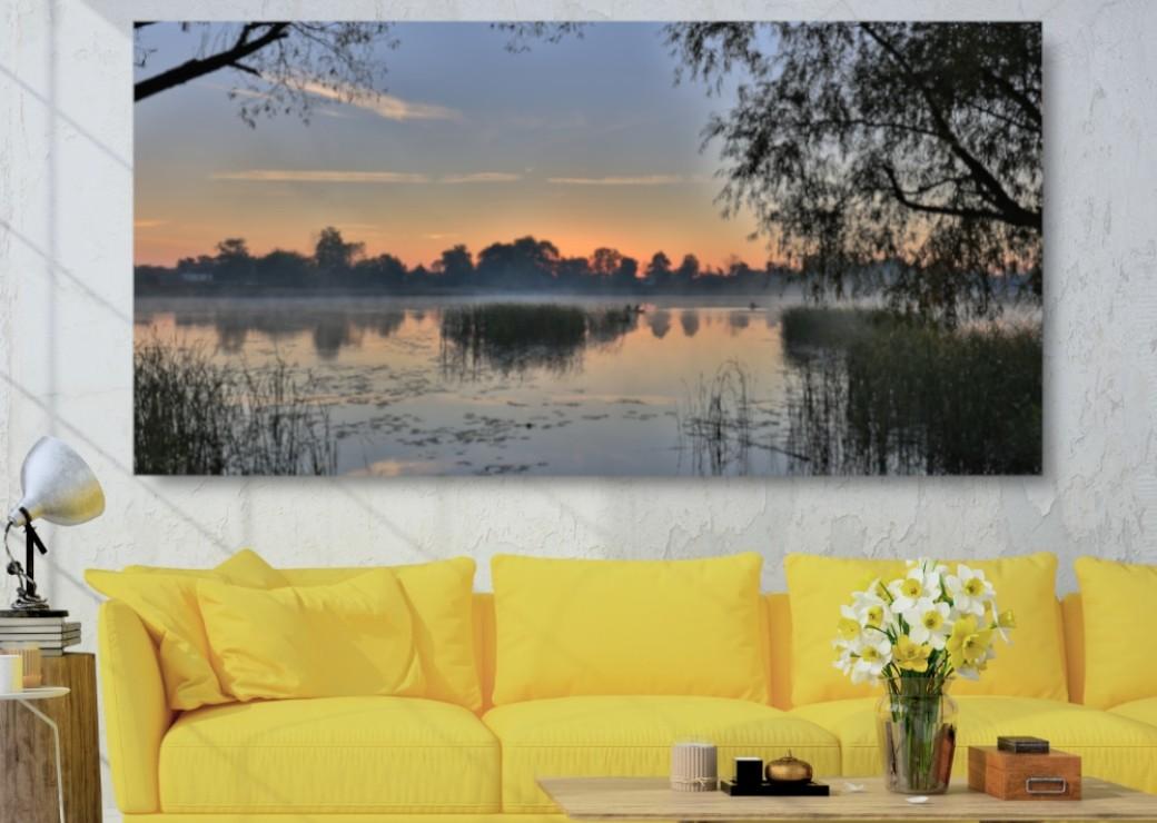 tableau lever de soleil sur la mangrove