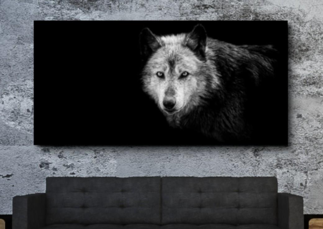 tableau loup noir et noir