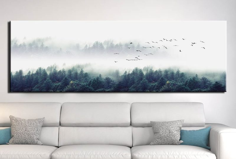 Tableau montagne dans le brouillard