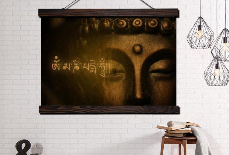 Tableau Bouddha et sanskrit