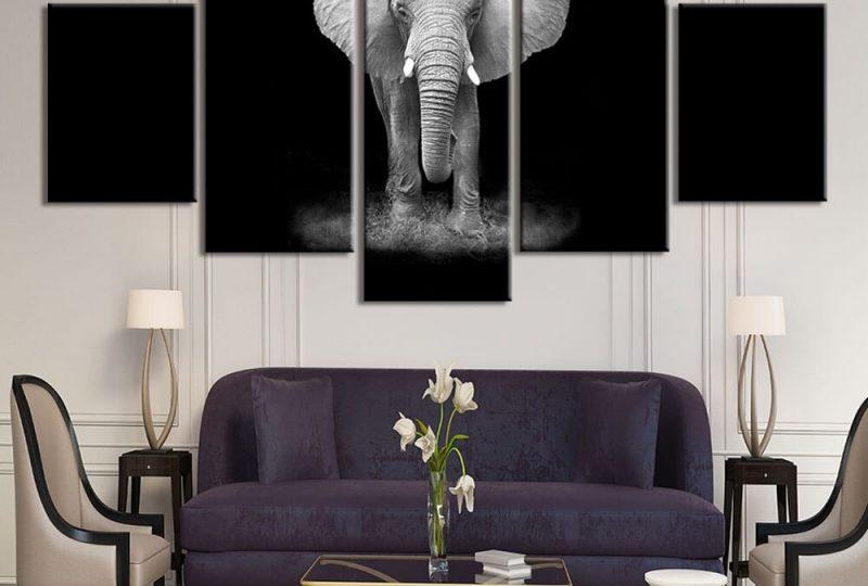 Tableau éléphant sur fond noir