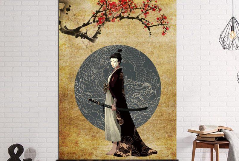 Tableau geisha sous un cerisier Tableau Japonais Tableau Monde