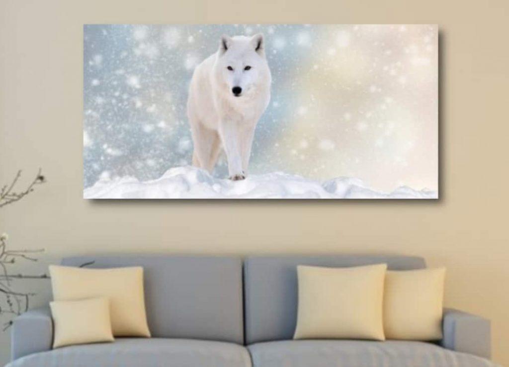 tableau loup et la neige